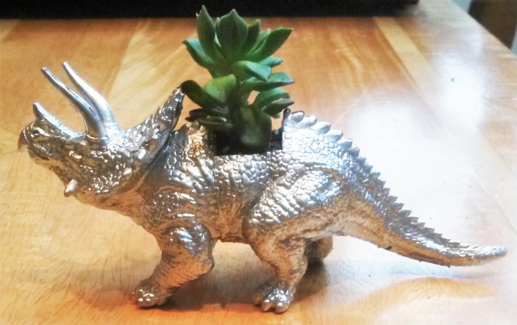 Silver Stegosaurus Planter