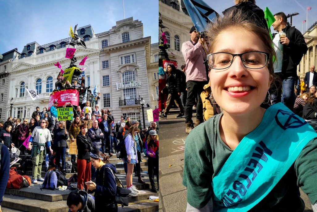 A photo of Extinction Rebellion protestors gather in Picadilly Circus, next to a photo of me. I'm wearing a blue sash which says 'wellbeing' and has the XR logo on it.